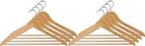 Wenko 17219008100 Gruccia appendiabiti Eco con barra per pantaloni e scanalature per gonne, faggio, 45 cm, colore: Naturale