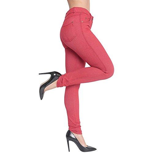 Damen Plus Size Stretch Farbige Denim Blue Leggings Hosen Jeggings Rot