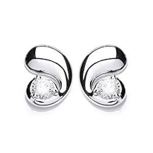 Rocio Illumini Cassiopeia Rhodium Plated Silver White Swarovski Zirconia Stylish Stud Earrings