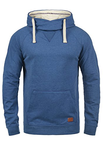 Blend Sales Herren Kapuzenpullover Hoodie Pullover Mit Kapuze Cross-Over-Kragen Und Fleece-Innenseite, Größe:L, Farbe:Great Blue (74651) L/s Pullover Hoodie