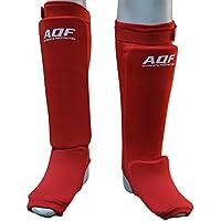 Protège-tibias et cou-de-pied AQF avec rembourrage en mousse - Équipement de protection pour boxe, kickboxing, MMA - Multicolore