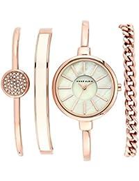 Anne Klein Reloj de cuarzo con perlas, esfera y pulsera de oro rosas de acero inoxidable