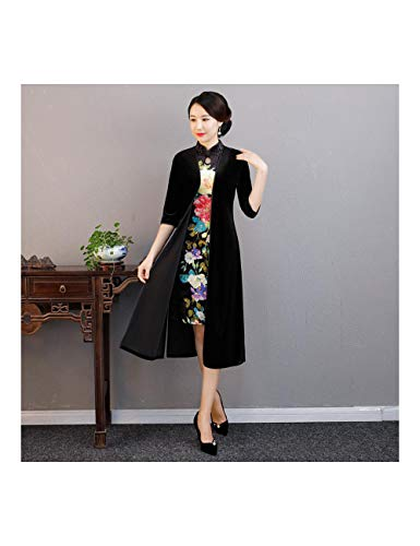 ATLD Cheongsam Herbst Samt Stehkragen Cheongsam Chinesische Frauen Vintage 2 Stücke Qipao Anzug Elegante Abendgesellschaft Kleid Plus Größe M-3Xl,Schwarz 3,L -