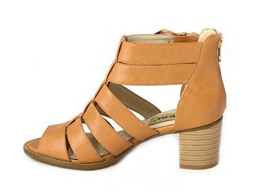 Mesdames pour femme Soutien-gorge Effet Boucle Haute Wedge Talon Plateforme en liège Peep Toe chaussures sandale différents Designs Taille 345678 Tan (13097)