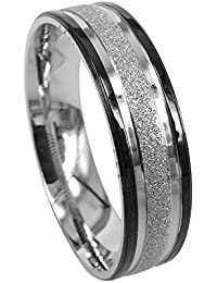 Everstone Men Wedding Band Engagement Promise Ring Titanium Ring Two Tone Black and Silver Dome Shape 6mm