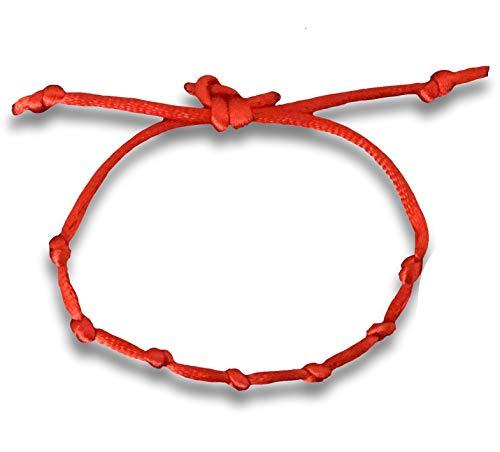 Huellas Pulsera cordón 7 Nudos roja Mal de Ojo Amuleto de la Suerte protección Kabbalah