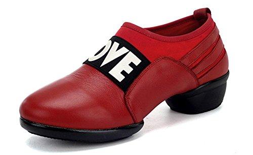 SHIXR Damen Tanzschuhe Sportschuhe Damen erhöhen Fitness Jazz Schuhe Breathable Modern Dance Schuhe Rote
