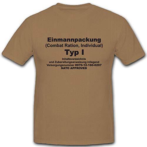 EPA Einmannpackung Bundeswehr Militär Feldküche Verpflegungspaket T Shirt #4561, Farbe:Sand, Größe:Herren L