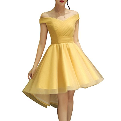 Ysmo Frauen a-line Tüll hoch niedrig von der Schulter schnüren sich oben Abschlussball-Heimkehr-Partei-Kleider Gelb