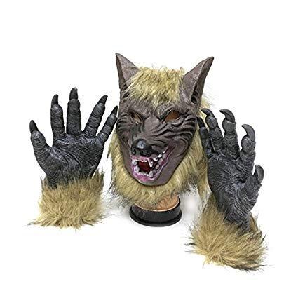 (Yaoguan Wolf Latex Maske und Wolf Claws Halloween Kostüm (Zwei Stücke))