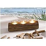 Bougeoir bois flotté, 4 parties, bois flotté avec 3 photophores amovibles, sans bougie