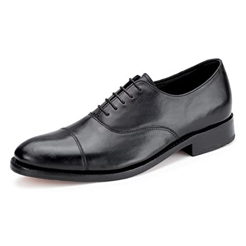 Samuel Windsor Men's Handmade Goodyear Welted Italian Leather Oxford Shoe in Black and Brown. (10, Black)