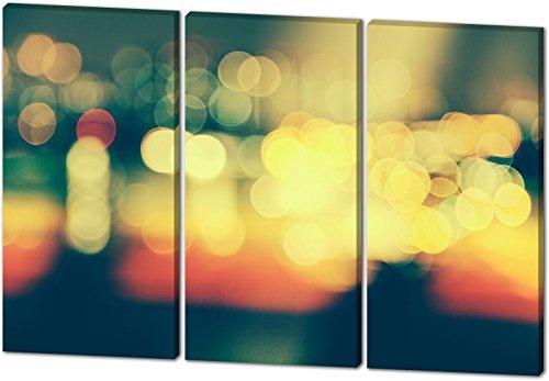City Lights, schönes und hochwertiges Leinwandbild zum Aufhängen in XXL - 3 Teiler mit 120cm x 80cm, echter Holzrahmen, effektiver Pigmentdruck, modernes Design für Ihr Büro oder Zimmer