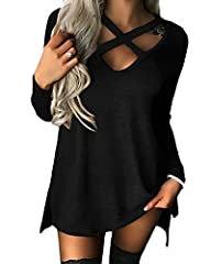 Idea Regalo - YOINS Donna Pullover Top Sexy Felpa a Maniche T-Shirt con Scollo a V Nero XL/EU46