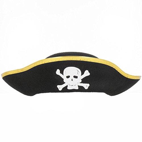 Piratenhut mit Goldrand und Totenkopf für alle kleinen (Piraten Hut Filz)