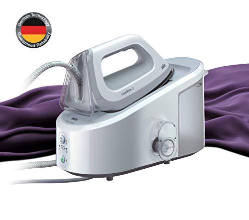 Braun Carestyle 3 IS3041/1WH - Centro de planchado, ajuste de temperatura automática, 2.400 w, 120 g/min, 5,5 bar, depósito 2 l, blanco y gris
