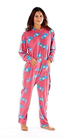 Ladies Horse Print Hooded Onesie, Designer Soft Fleece Loungewear, RZK570, Pink 14-16