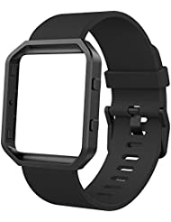 Anjoo Fitbit Blaze Bands with Black Metal Frame, Black Silicone and Magnetic Loop Stainless Steel Replacement Band with Black Frame for Fitbit Blaze, Large