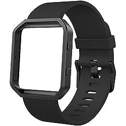 Anjoo Correa para Fitbit Blaze, Deporte de Repuesto Ajustable de Silicona Suave Correa para Fitbit Blaze Smart Fitness Watch con Marco de Metal