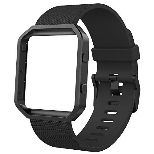 Anjoo Fitbit Blaze Armband mit Metallrahmen, Verstellbares Ersatz Soft Silikon Uhrenarmband fur Fitbit Blaze Smartwatch