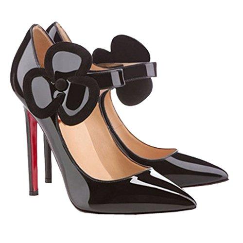 ENMAYER Womens PU & Nubuck Matière Sexy Flower Pointed Toe Stiletto Haute Talon Velcro Party Robe de Soirée Pumps Court Shoes Noir