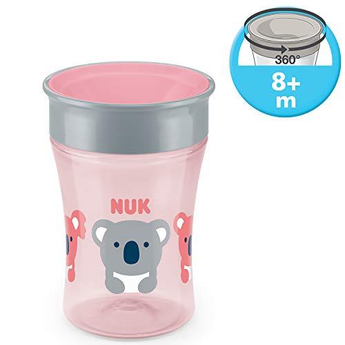 NUK Magic Cup Bicchiere Antigoccia per Bambini, Bordo 360°, 8+ Mesi, 230ml, senza BPA, koala (rosa)