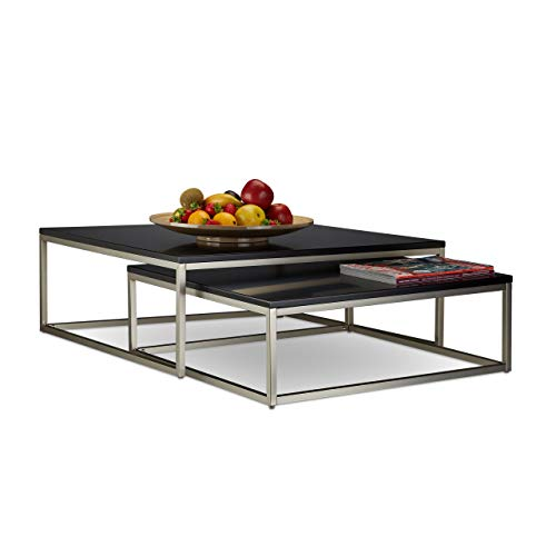 Relaxdays Couchtisch Holz FLAT 2er Set 27,5 x 75 x 75 cm HxBxT, flacher Loungetisch, Satztische für Wohnzimmer, schwarz