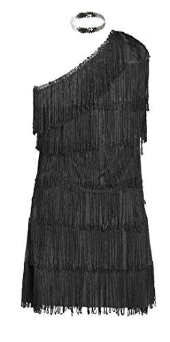 Schickes 20er Flapper Kostüm von Emma's Wardrobe – Enthält schwarzes Fransenkleid, Haarband und weiße Federboa – Flapper Kostüm für Halloween und Auftritte – Hohe Qualität – Größen ()