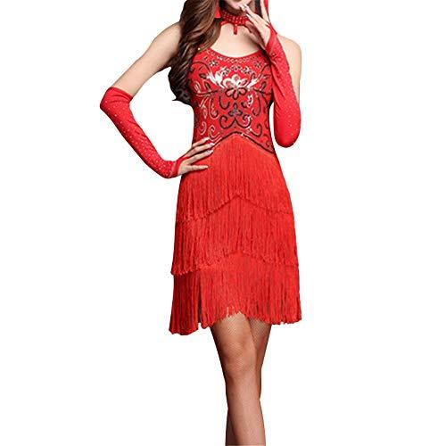 Wuxingqing Damen Jazz Latein Dance Kleid Frauen Fransen Quasten Ballsaal Samba Tango Latin Dance Dress Wettbewerb Kostüme Themen Party Swing Dress (Farbe : Rot, Größe : XL)