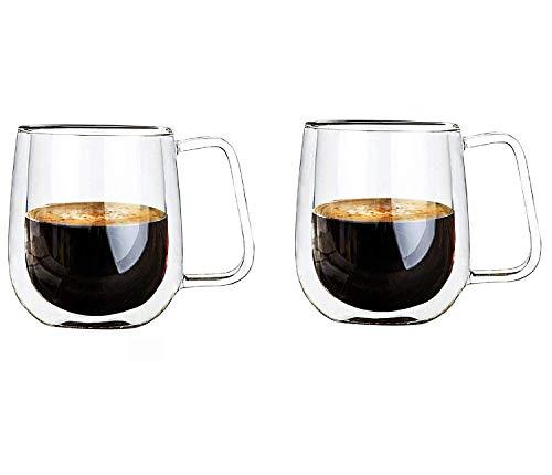 Vicloon Doble Pared de Vidrio de Borosilicato,Tazas para el Té,Café,Café con Leche,Capuchino,Cerveza,250 ml (normal-2pcs-01)