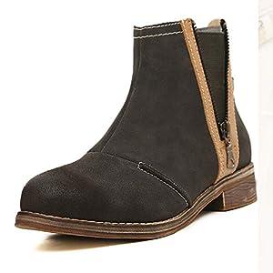 Top Shishang Scrub dicken Ferse Reißverschluss Martin Stiefel Damen Chelsea Stiefel und Stiefeletten westlichen Stiefeletten