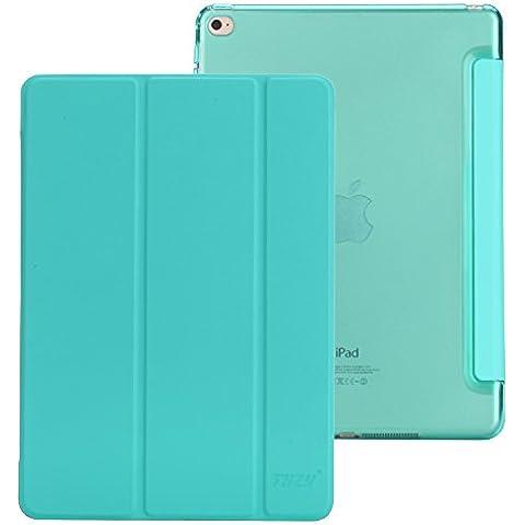 iPad Air 2 funda,THZY cubierta elegante + tapa trasera transparente(Ultra delgado, ligero, Forro resistente a los aranazos, ajuste perfecto, Auto de despertador / sueno Funcion) para el iPad Air 2 [2014 liberacion]- Menta Verde