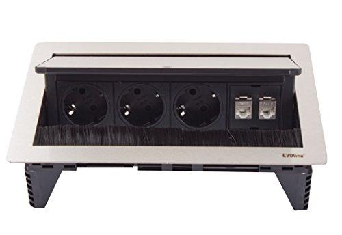 Preisvergleich Produktbild Schulte EVOline FlipTop Push Data M 3x VDE Steckdosen 2x RJ45, 159370000200
