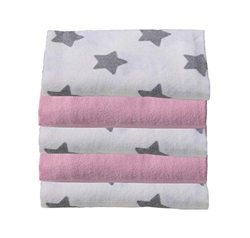 Preisvergleich Produktbild ClevereKids Molton Flanellwindeln Sterne 5er Pack Spucktücher gebürstete Baumwolle Ökotex Standard 100 Kuschelqualität (hellgrau-weiß-rosa)