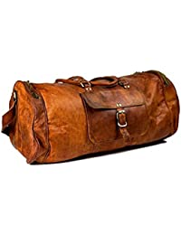 Leather Bag Vintage Genuine 24'' Round Duffle Cum Gym Bag By Znt Bag Kfd - 5041