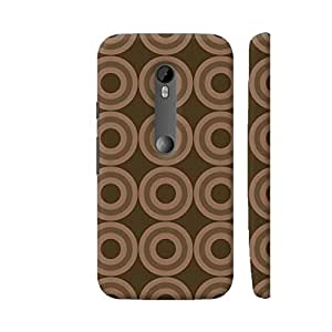 Colorpur Moto G3 Cover - Brown Geometric Circle Repeating Pattern Case