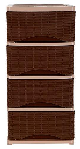 Regalo Plastic Tuckins, 4 drawer, Cane Brown