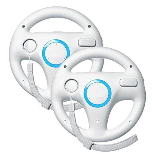 PYRUS Generic Wii Controller Weiß Steuerung Mario Kart Racing Wheel Juego-Controlador para Nintendo Wii Remote Game-White (2 PCS)