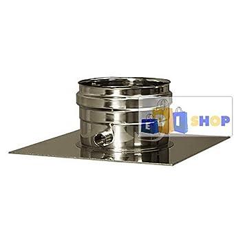 CHEMINEE PAROI SIMPLE TUYAU TUBE INOXIDABLE AISI 316 - dn 120 piastra con drenaggio chiusa canna fumaria tubo acciaio inox 316 parete semplice