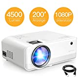 Beamer APEMAN Mini Beamer 4500 Lumen 1080P Full HD Unterstützt...