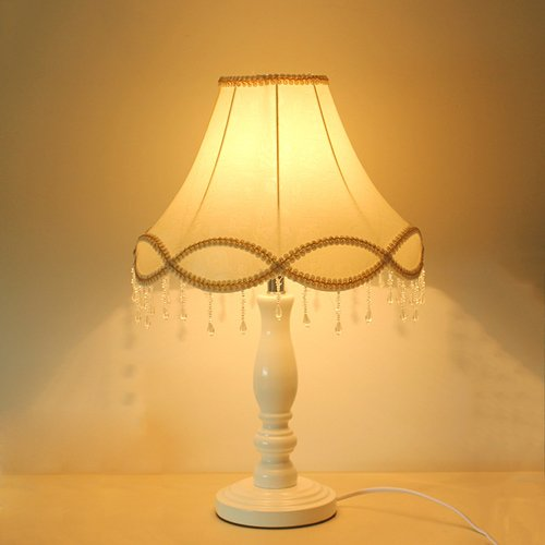KMYX Haushalt Dimmable Tischlampe Schlafzimmer Nacht Woody Studie Tischleuchte Stoff Lampenschirm...