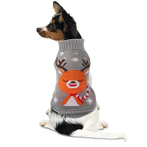 Idepet Pull pour Chien Tricots avec Motif de Renne de Noël Vêtements pour Chat Chien Manteau Costumes Noël (M, Gris)