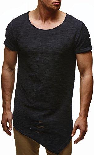 LEIF NELSON Herren oversize T-Shirt Hoodie Hoody LN6354 Schwarz