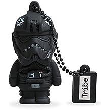 Tribe Disney Star Wars Tie Fighter Pilot - Memoria USB 2.0 de 8 GB Pendrive Flash Drive de goma con llavero, color negro