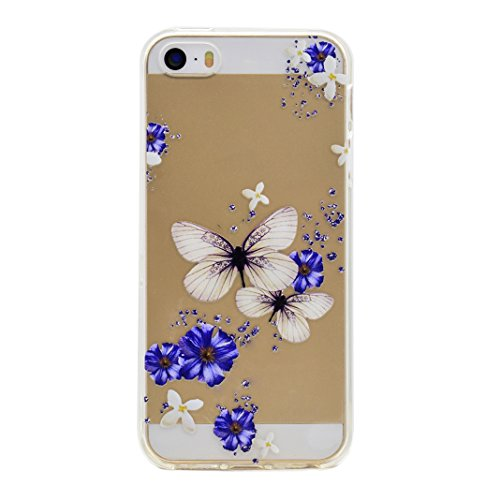 Hülle iPhone SE Case, iPhone 5 Hülle Silikon, iPhone 5S Hülle Silikon, Moon mood® Telefon Schale Gemalt Reliefs TPU Silikon Handyhülle Schutzhülle Case für Apple iPhone 5/5S/SE Thin Dünn Weich TPU Sch 3 PCS 2