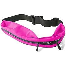 KSIX BXCIN02R - Cinturón deportivo con 2 bolsillos para smartphone, color rosa