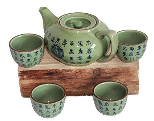 """AAF Nommel®, Teeset Celadon grün, Motiv """"Glück"""", Keramik Nr. 309"""
