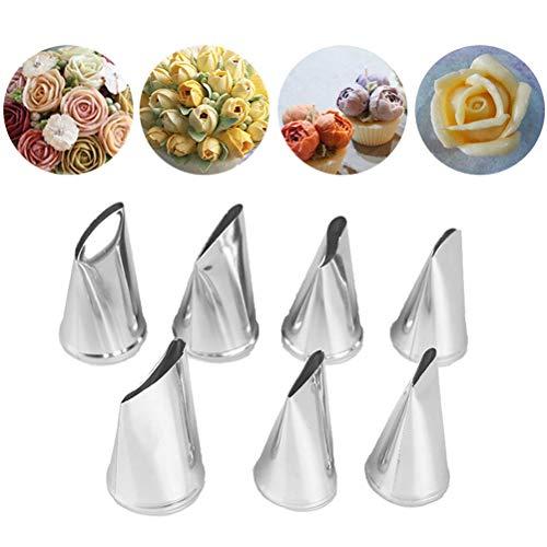Bloomeet 7 Stück/Set Kuchen Dekorieren Tips Creme Zuckerguss Piping Rose Tulpe Gebäck Werkzeug (Kuchen-tip-set)