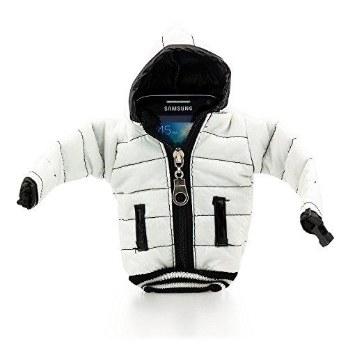 Saxonia Universal Handytasche Daunenjacke Tasche Hülle für Smartphone Handy oder MP3-Player Cover Case Schutzhülle Etui Bag Jacke, Weiß Weiß