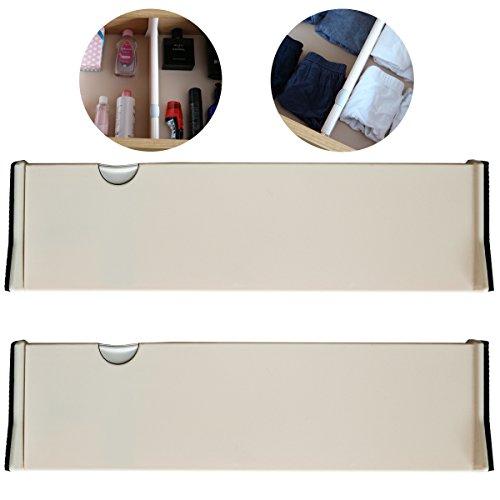 Divisori cassetti regolabili da kurtzy - confezione 2 organizzatori plastica regolabili - sistema divisori profondi espandibili impilabili - per armadio, bagno, camera da letto, ufficio e comò